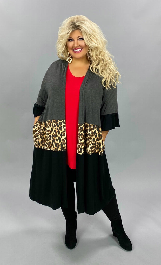 26 OT-G {Losing Control}  SALE!! Grey Brown Leopard Duster CURVY BRAND EXTENDED PLUS SIZE 3X 4X 5X 6X