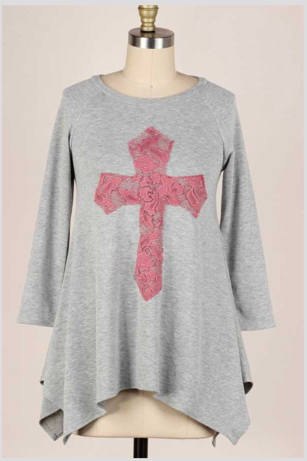 11-14 GT-C {Don't Cross Me} Grey Pink Cross Detail Top PLUS SIZE XL 2X 3X