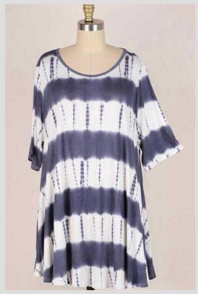 65 PSS-S {Ocean Addiction} Blue Bamboo Ombre Tunic EXTENDED PLUS SIZE 3X 4X 5X