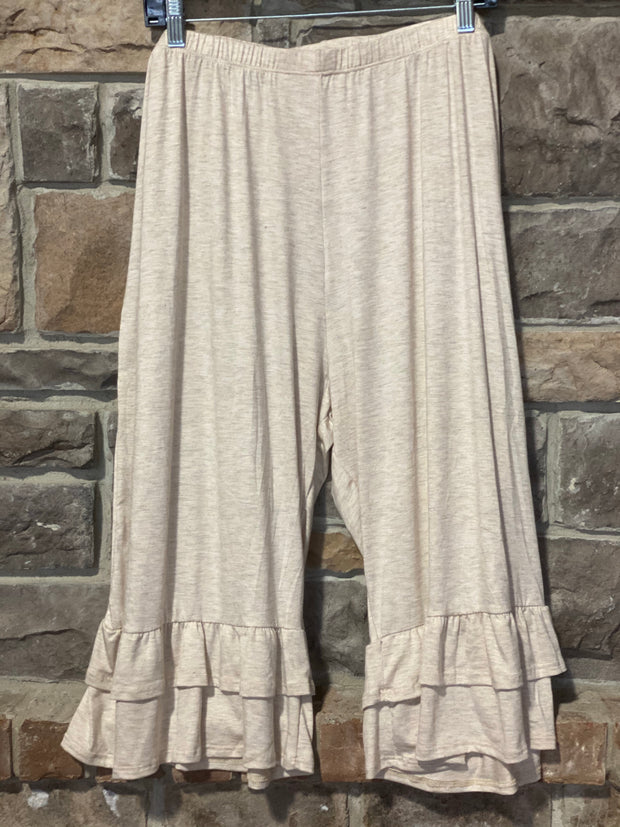 BT-K {Cute As Can Be}Oatmeal Double Ruffle Capri Pant Curvy Brand EXTENDED PLUS SIZE 3X 4X 5X 6X
