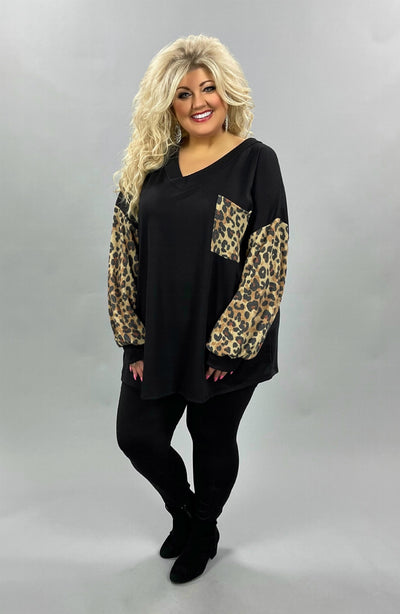 42 CP-O {Chasing Animals} SALE!! Black Leopard Contrast Top CURVY BRAND EXTENDED PLUS SIZE 3X 4X 5X 6X