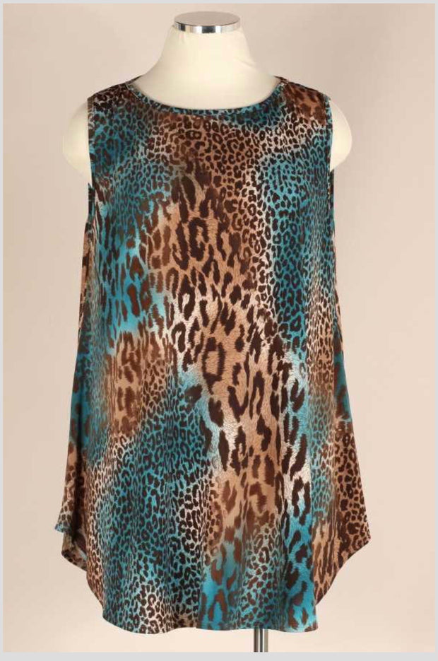 SV-T {Must Be Fate} Teal/Brown Animal Print Sleeveless Dress EXTENDED PLUS SIZE 3X 4X 5X
