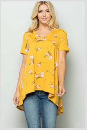 PSS-N {I'm Golden} Yellow Gold Floral Print HI-Low Tunic  SALE!!