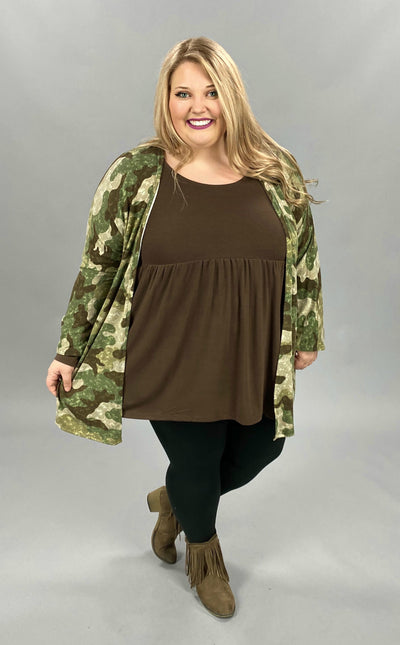 10-22 OT-G {Hide From Me} Olive Moss Camo Print Cardigan PLUS SIZE XL 2X 3X
