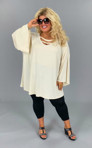 SQ-E {Own A Moment} Cream Tunic W/Neck Detail & Bell Sleeve EXTENDED PLUS SIZE 3X 4X 5X 6X CURVY BRAND