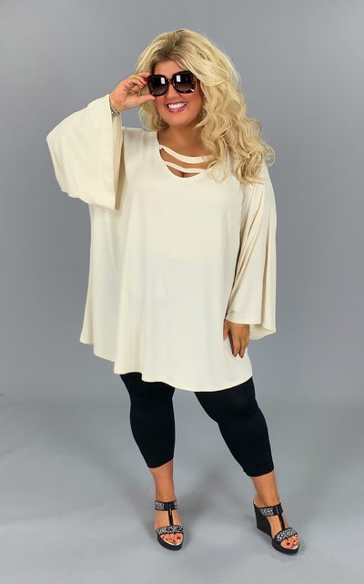 SQ-E {Own A Moment} Cream Tunic W/Neck Detail & Bell Sleeve EXTENDED PLUS SIZE 3X 4X 5X 6X