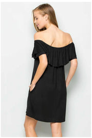OS-C {Venture Out} Black Overlap Off Shoulder Dress PLUS SIZE 1X 2X 3X SALE!!