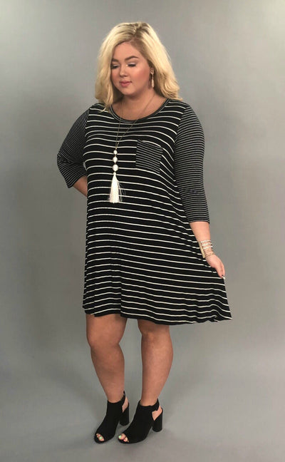 CP-H {Simple Beauty} Extended Plus Black Striped Dress  SALE!!