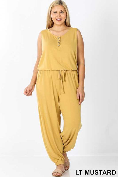 RP-M {Don't Go To Pieces} Sleeveless Mustard Jumpsuit with Button Detail/Elastic Waist & Ankle PLUS SIZE 1X 2X 3X
