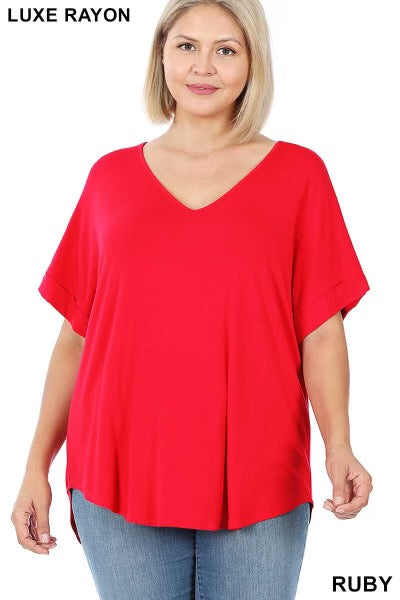 58 SSS-C {Hint of Red}  Red V-Neck Short Cuff Sleeve