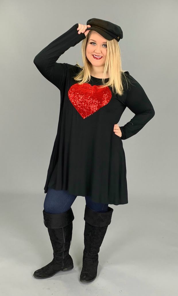 GT-M Black Long Sleeved Dress with Red Sequined Heart SALE!!