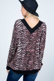 15 CP-D {Cross Roads} Black Grey Blush Zebra Top PLUS SIZE XL 2X 3X
