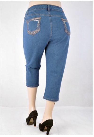 BT-R {Denim Daydream} Be-Girl Vintage Denim Capri Pant EXTENDED PLUS SIZE 24, 26, 28