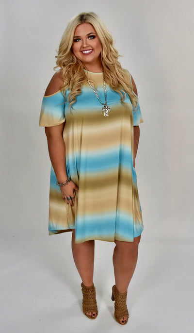 OS-Z (Every Last Detail) Blue/Tan Gradient Open Shoulder Tunic