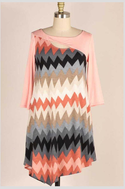 47 CP-E {Wanderlust} Peach Multi Color Chevron Print Dress PLUS SIZE XL 2X 3X