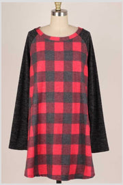 20 CP-O {Eyes On Me} Red Charcoal Plaid Knit Tunic EXTENDED PLUS SIZE 3X 4X 5X