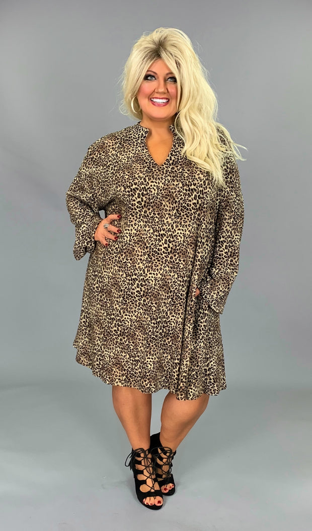 LD-O {Charm The Crowd} Leopard Soft Knit V-Neck Dress Extended Plus