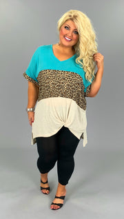 CP-R {About a Girl} Teal & Leopard Knot Hem Tunic PLUS SIZE XL 1X 2X