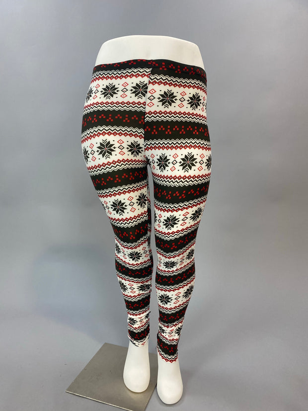LG-M {A Winter's Tale} Red/Black Snowflake Print Leggings