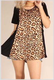 CP-B {Next To You} Black & Tan Leopard Contrast Tunic EXTENDED PLUS SIZE 1X 2X 3X 4X 5X 6X