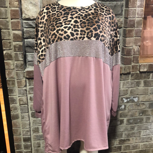 42 CP-F {Put Together}  SALE!! Blush Leopard Glitter Dress CURVY BRAND EXTENDED PLUS SIZE 3X 4X 5X 6X