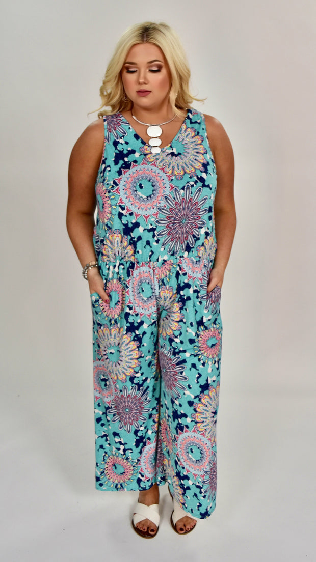 RP-B {Something New} Mint Mandala Print V-Neck Romper