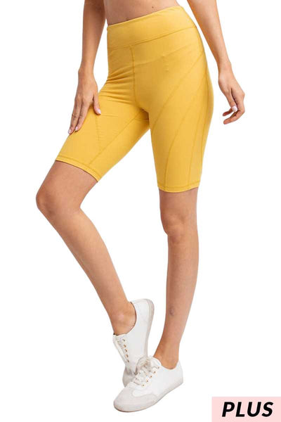 BT-C1 {Must Ride} Mustard Bike Shorts W/ Back Key Pocket PLUS SIZE 1X 2X 3X