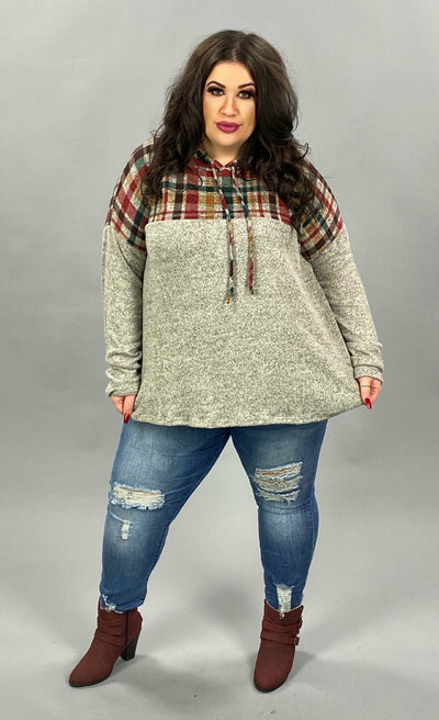 37 HD-D {Ride With Me}  SALE!! Grey Red Plaid Contrast Hoodie PLUS SIZE XL 2X 3X