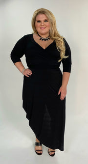 LD-B {Follow That Feeling} Black Maxi Dress 3/4 Sleeves