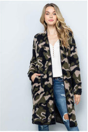 20 OT-C {Make Choices} SALE!! Green Camo Fuzzy Cardigan PLUS SIZE 1X/2X 2X/3X