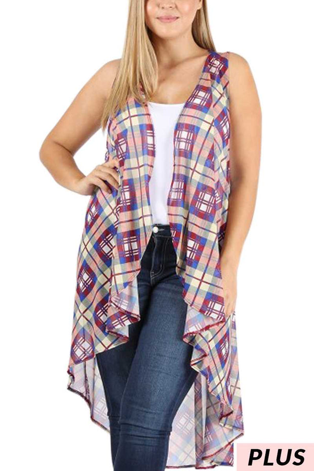 OT-D {Burberry Plaid} Sheer Multi Color Vest PLUS SIZE 1X 2X 3X