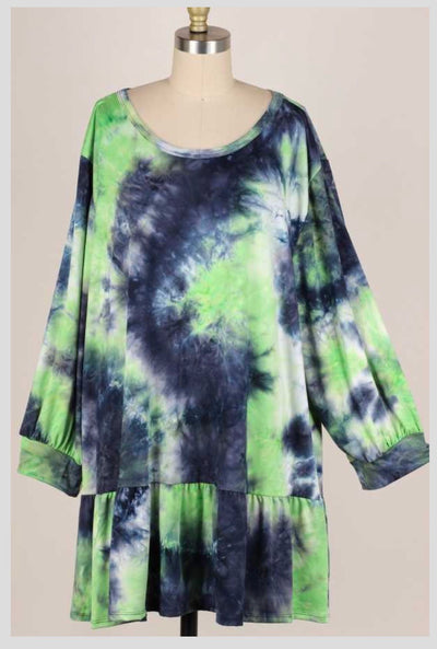 PQ-D {Want It All} Green Navy Tie Dye Ruffle Hem Tunic BUTTER SOFT EXTENDED PLUS SIZE 4X 5X 6X