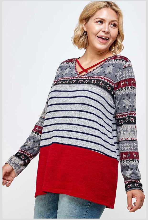 10-13 CP-D {Cozy With You} Red Grey Contrast Neck Detail PLUS SIZE XL 2X 3X