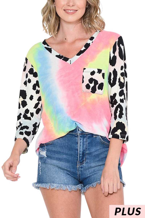 48 CP-F {Spotted A Party} Pink Neon Tie Dye Leopard Top PLUS SIZE XL 2X 3X