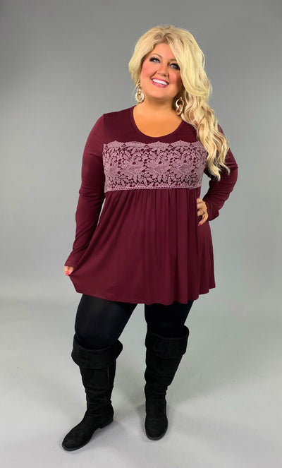 CP-G {Attention To Detail} Burgundy Top with Crochet Detail