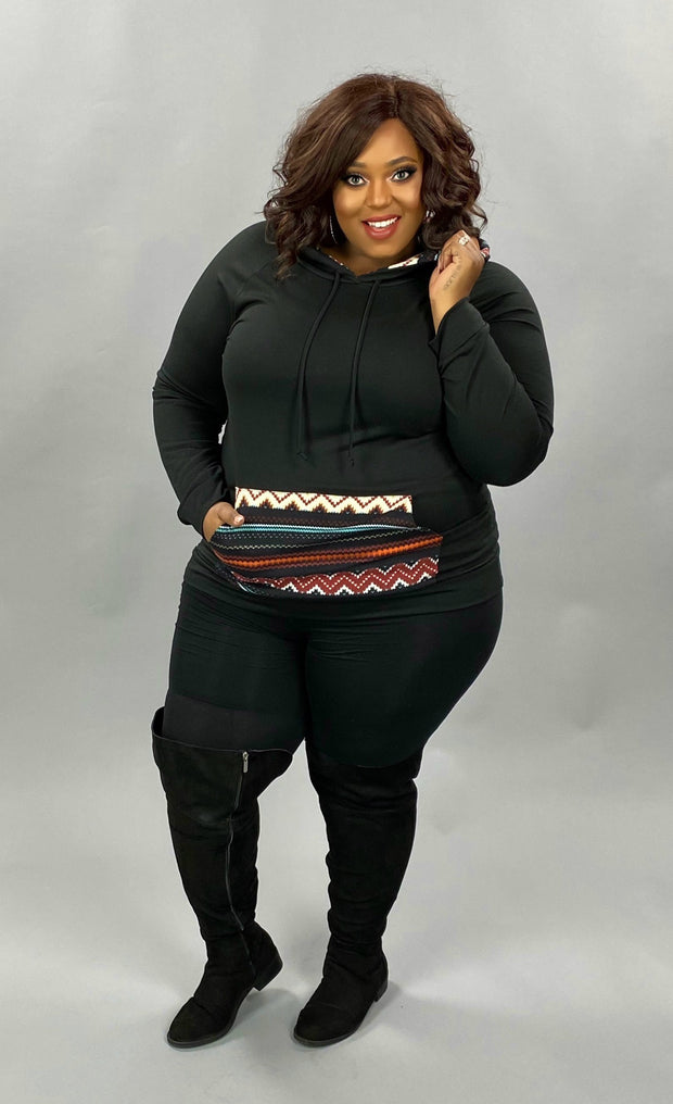 23 HD-E {Waiting On Forever} SALE!! Black Aztec Pocket Hoodie PLUS SIZE XL 2X 3X