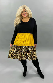 36 CP-A {Wild Thing} SALE!! Black Mustard Leopard Contrast Dress CURVY BRAND EXTENDED PLUS SIZE 3X 4X 5X 6X