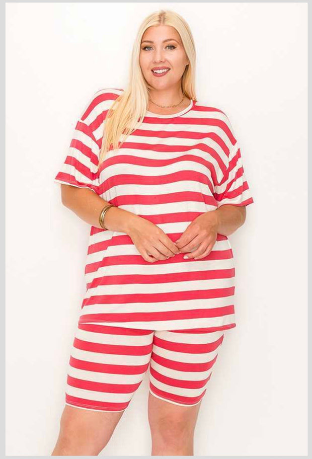 SET-D {A Little Spice} Coral & Ivory Stripe Lounge Wear Set EXTENDED PLUS SIZE 3X 4X 5X SALE!!