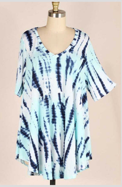 PSS-D {You Decorated My Life} Aqua/Navy Tie-Dye Tunic EXTENDED PLUS SIZE 3X 4X 5X