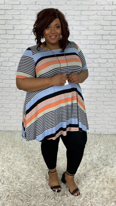 PSS-S {Earned My Stripes} Mult-Stripe Dress PLUS SIZE 1X 2X 3X