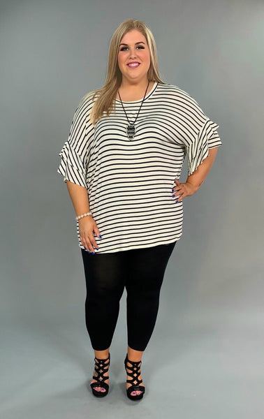 PSS-P {Yes Please} Ivory/Black Striped Top with Ruffle Sleeves Extended Plus