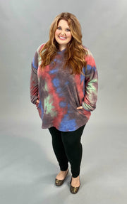 17 HD-Z {Choose Happiness} SALE!! Red Tie Dye Hoodie CURVY BRAND EXTENDED PLUS SIZE 3X 4X 5X 6X