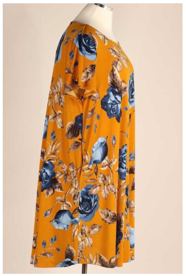 PSS-A {Sunset Roses} Mustard Floral Dress EXTENDED PLUS SIZE 3X 4X 5X