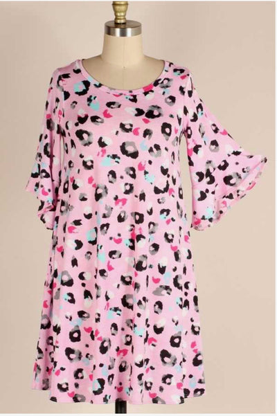 53 PQ-A {Pink Glee} Pink Leopard Tunic Ruffled Sleeve Plus Size 1X 2X 3X