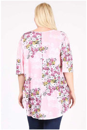 54 PSS-J {Floral Cascade} Flowers on  Pink Tunic EXTENDED PLUS 3X 4X5X