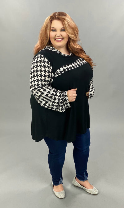 10-22 HD-C {Always Be Mine} Black White Houndstooth Hoodie EXTENDED PLUS SIZE 4X 5X 6X