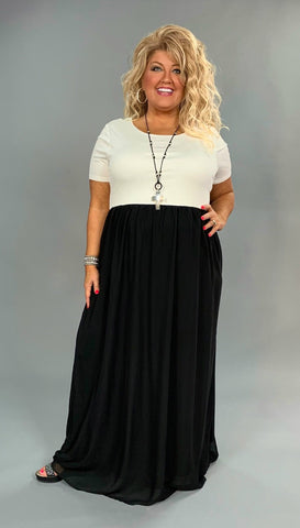 LD-T {Sweetest Delight} Off-White/Black Maxi Dress with Lining