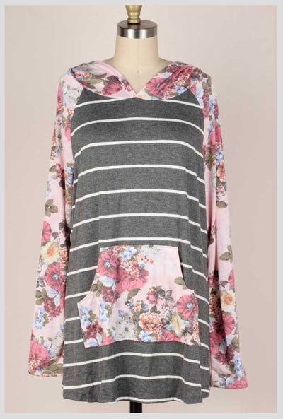 HD-Y {Autumn Lane} Grey Pink Stripe Floral Sleeve Hood Top EXTENDED PLUS SIZE 4X 5X 6X