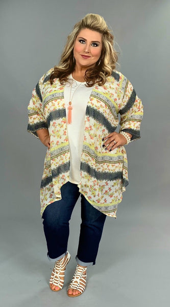 OT-Y {Mesmerized By You} Coral Lime Floral Print Cardigan