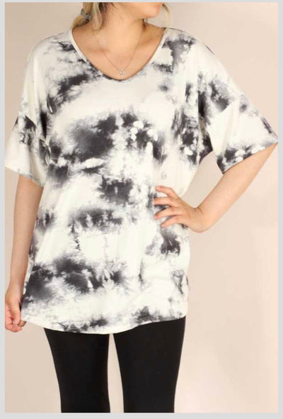 PSS-Z {Inked} Ivory & Charcoal Tie Dye Tunic EXTENDED PLUS SIZE 3X 4X 5X